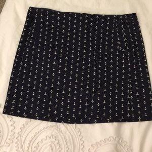 J. Crew Navy Anchor Mini Skirt